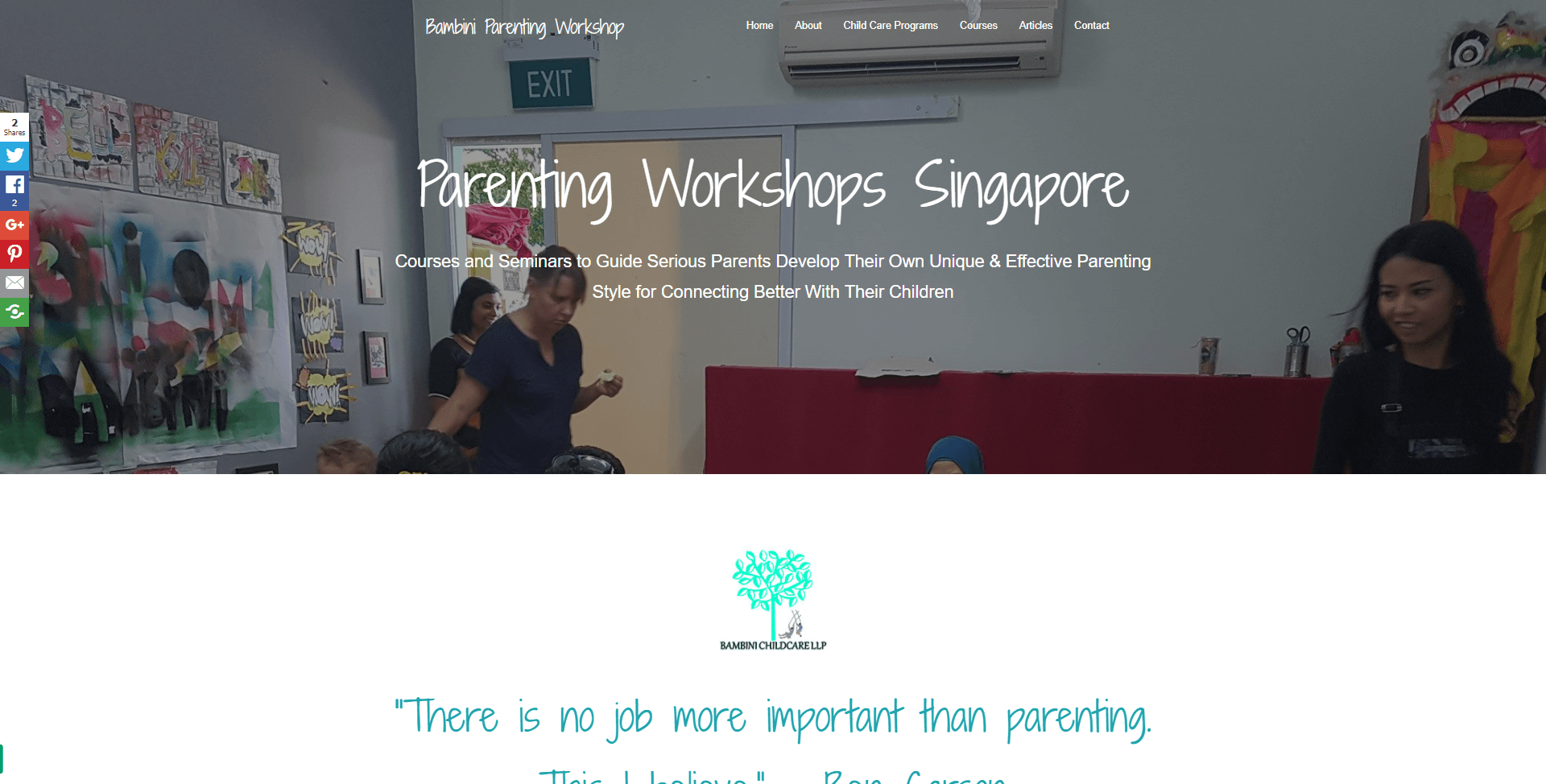 Singapore parenting workshops home page above the fold design