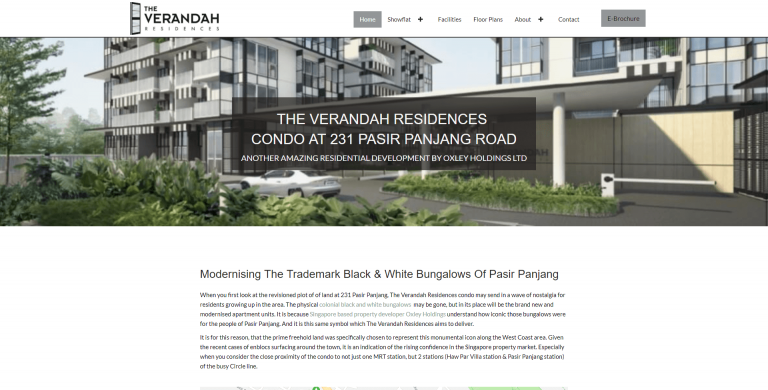 Verandah Residences home page above the fold design
