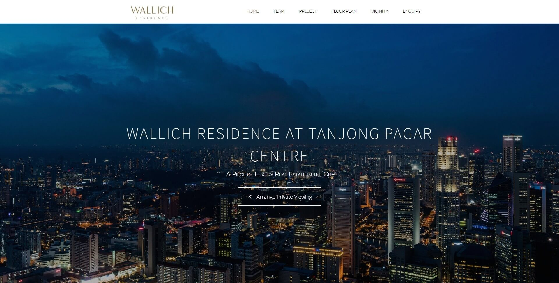 Wallich Residence - Home Page - Above the Fold