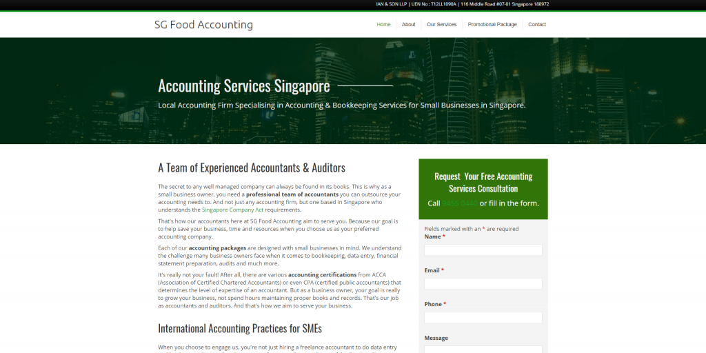 SG Food Accounting home page above the fold design