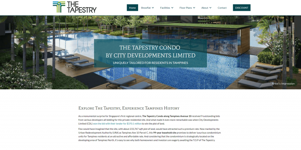 The Tapestry Enquiries home page above the fold design